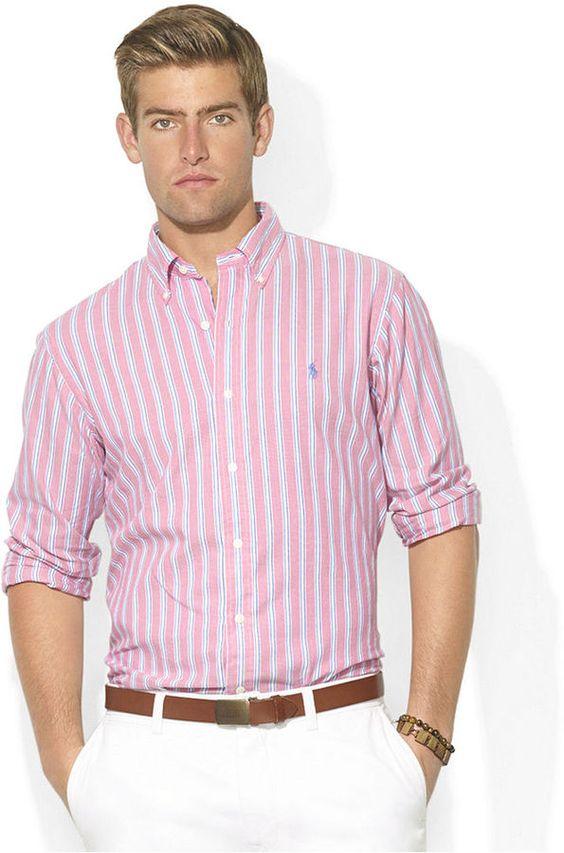 پیراهن صورتی راه راه مردانه نوین روز