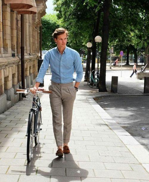 پیراهن آبی شلوار خاکی مردانه نوین روز