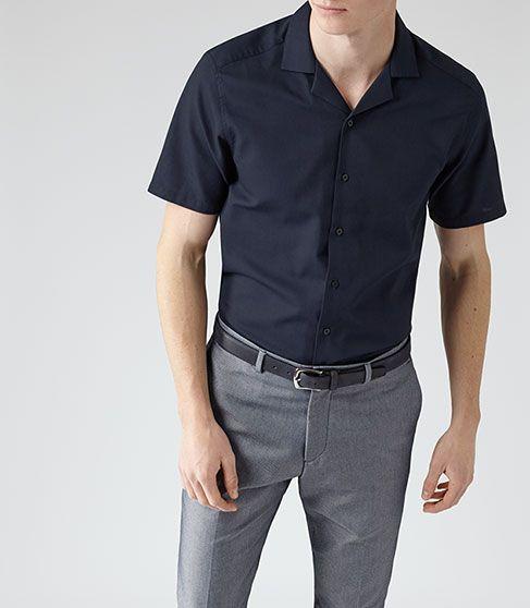 پیراهن آستین کوتاه مردانه رسمی مشکی نوین روز